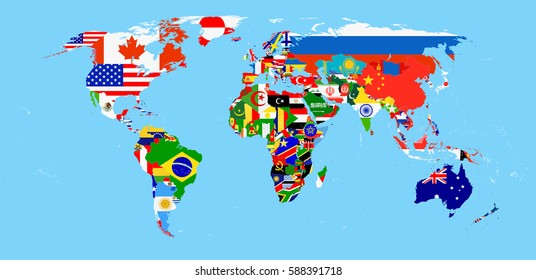 World Flag Map with a blue background. All elements are separated in editable layers clearly labeled.