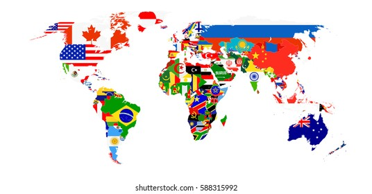 World Flag Map isolated on white. All elements are separated in editable layers clearly labeled.