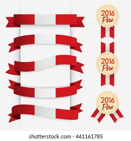 World Flag Ribbon : Vector Illustration