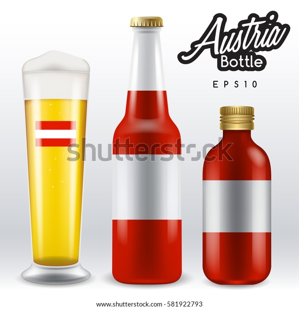 World flag wrapping on beer bottle :  Austria : Vector Illustration