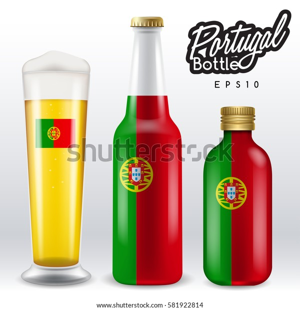World flag wrapping on beer bottle :  Portugal : Vector Illustration
