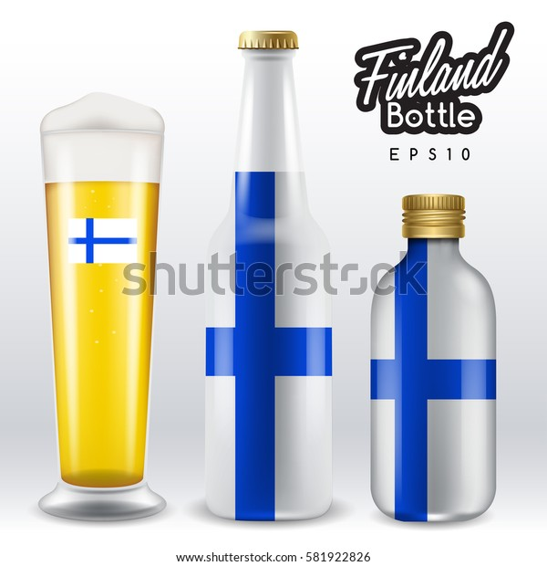 World flag wrapping on beer bottle :  Finland : Vector Illustration