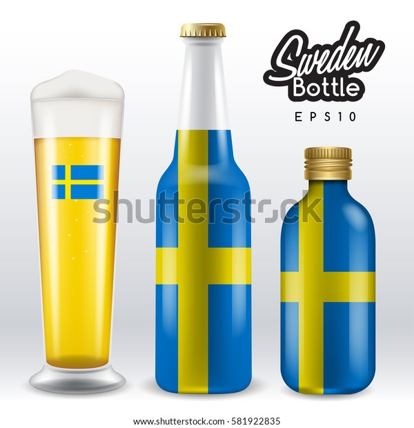 World flag wrapping on beer bottle :  Sweden : Vector Illustration