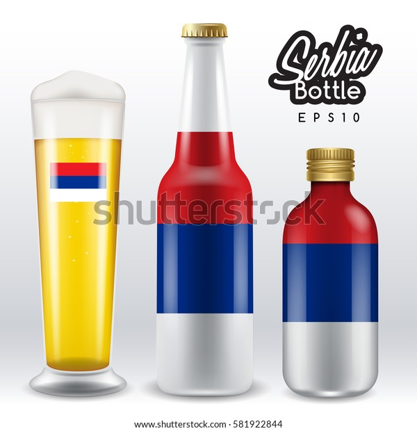 World flag wrapping on beer bottle :  Serbia  : Vector Illustration