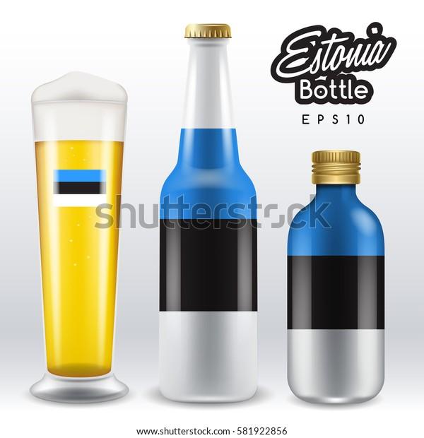 World flag wrapping on beer bottle :  Estonia : Vector Illustration