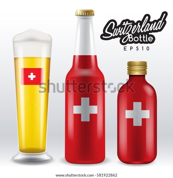 World flag wrapping on beer bottle :  Switzerland : Vector Illustration