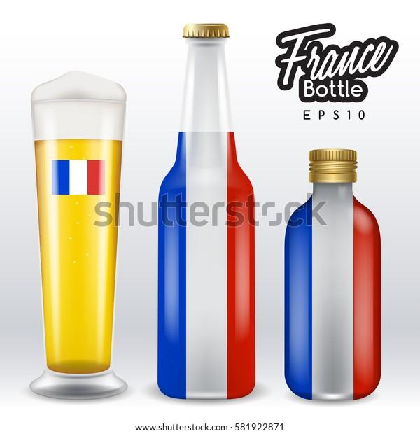 World flag wrapping on beer bottle :  France : Vector Illustration