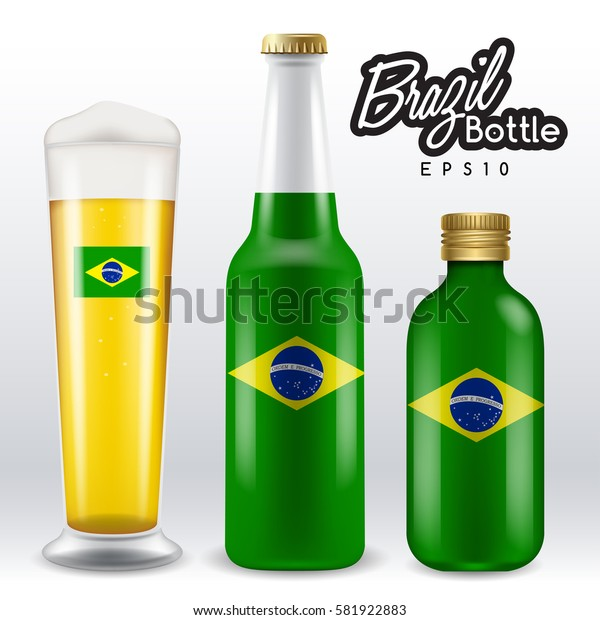 World flag wrapping on beer bottle :  Brazil : Vector Illustration