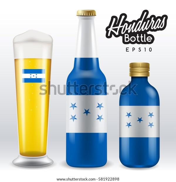 World flag wrapping on beer bottle :  Honduras : Vector Illustration