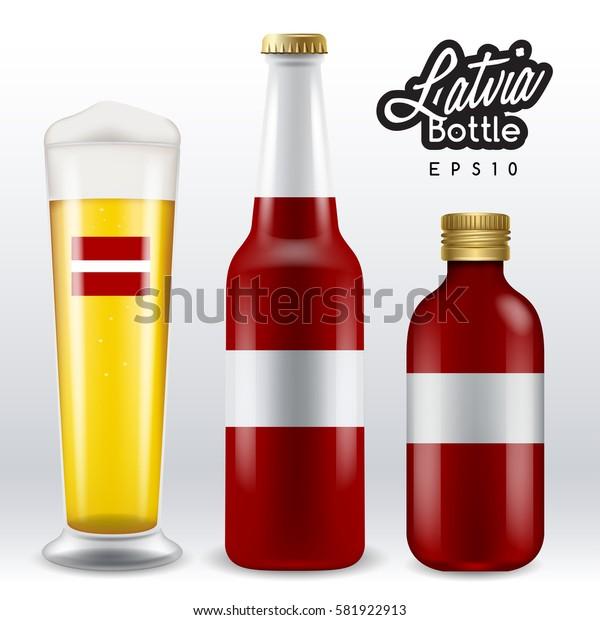 World flag wrapping on beer bottle :  Latvia  : Vector Illustration