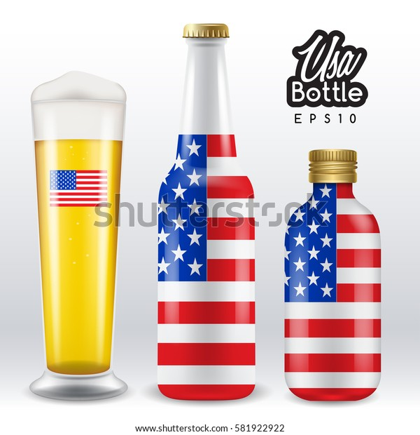 World flag wrapping on beer bottle :  USA : Vector Illustration
