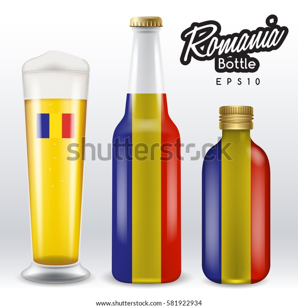 World flag wrapping on beer bottle :  Romania : Vector Illustration