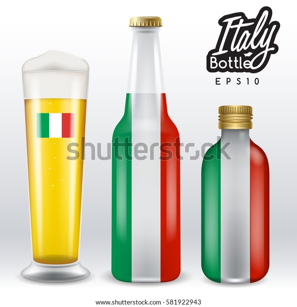 World flag wrapping on beer bottle :  Italy : Vector Illustration