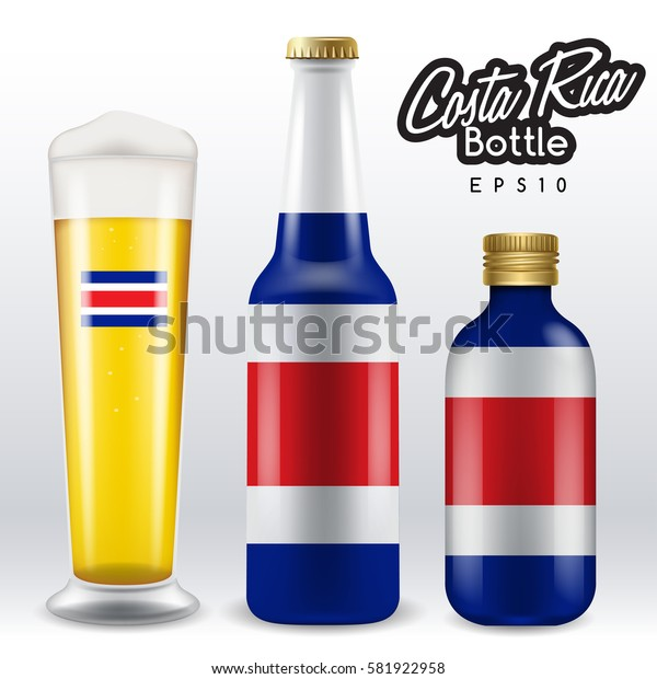 World flag wrapping on beer bottle :  Costa Rica : Vector Illustration