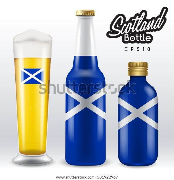 World flag wrapping on beer bottle :  Scotland : Vector Illustration