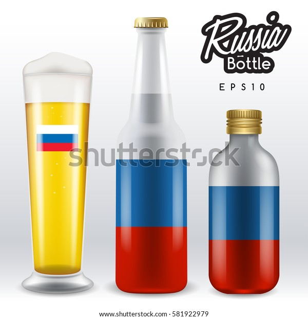 World flag wrapping on beer bottle :  Russia : Vector Illustration