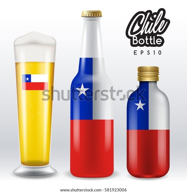 World flag wrapping on beer bottle :  Chile : Vector Illustration