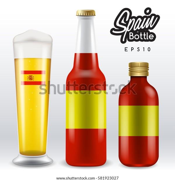 World flag wrapping on beer bottle :  Spain : Vector Illustration