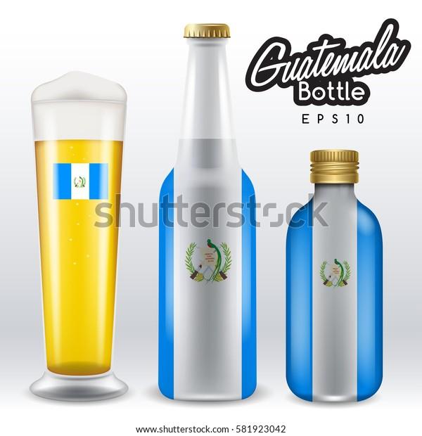World flag wrapping on beer bottle :  Guatemala : Vector Illustration