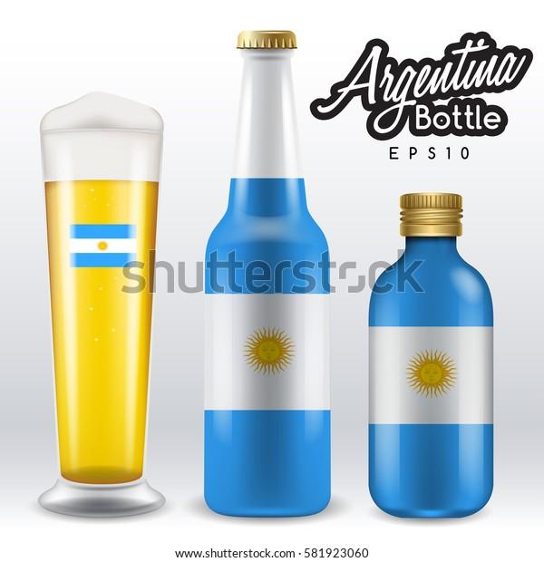 World flag wrapping on beer bottle :  Argentina : Vector Illustration