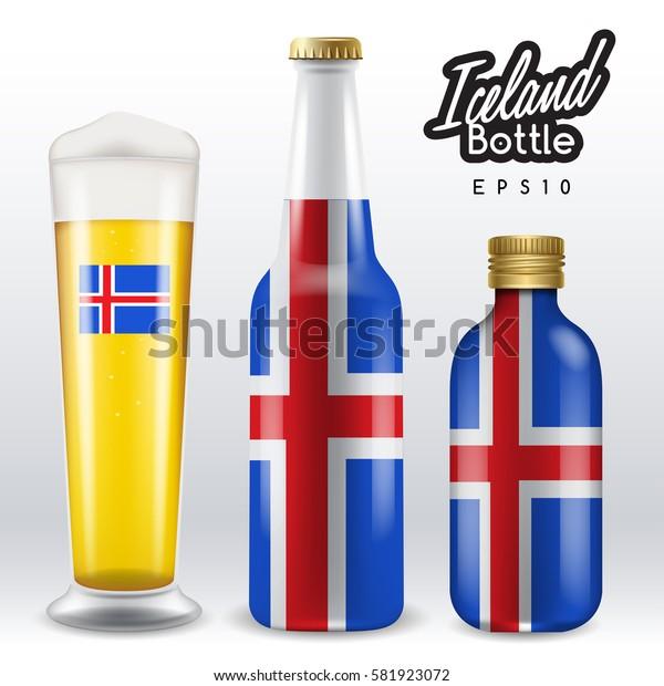 World flag wrapping on beer bottle : Iceland : Vector Illustration