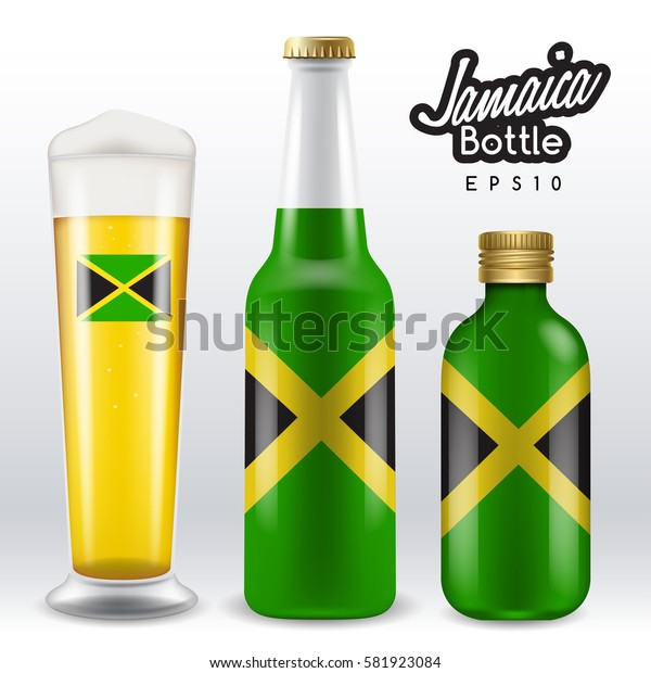 World flag wrapping on beer bottle : Jamaica : Vector Illustration