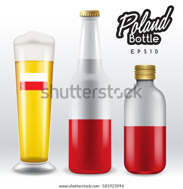World flag wrapping on beer bottle :  Poland : Vector Illustration