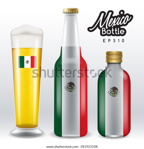 World flag wrapping on beer bottle :  Mexico : Vector Illustration