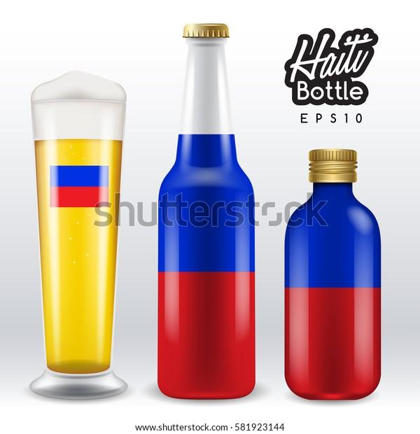 World flag wrapping on beer bottle : Haiti : Vector Illustration