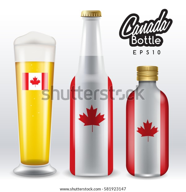 World flag wrapping on beer bottle : Canada : Vector Illustration
