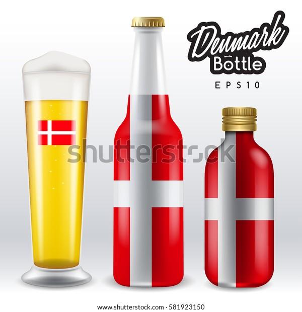 World flag wrapping on beer bottle :  Denmark : Vector Illustration
