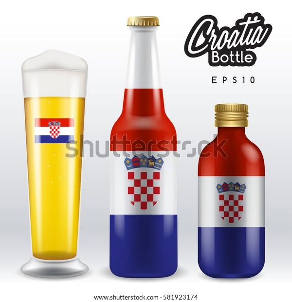 World flag wrapping on beer bottle :  Croatia : Vector Illustration
