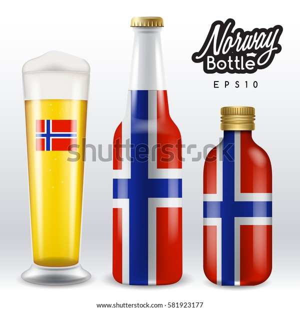 World flag wrapping on beer bottle :  Norway : Vector Illustration