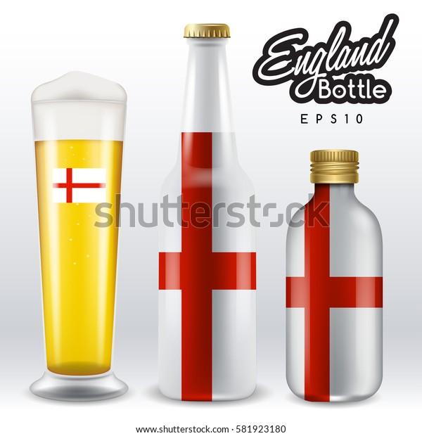 World flag wrapping on beer bottle :  England : Vector Illustration
