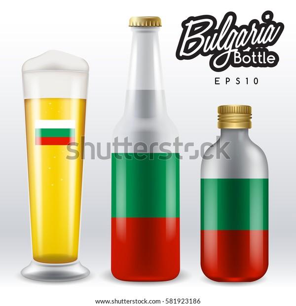 World flag wrapping on beer bottle :  Bulgaria : Vector Illustration