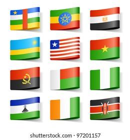 World flags. Africa. Vector.