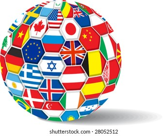 World flags. All elements and textures are individual objects. Vector illustration scale to any size.