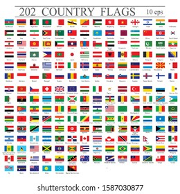 World flags all vector color isolated. Vector illustration 10 eps