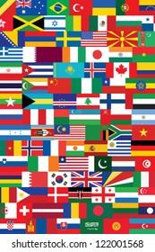 world flags background vector illustration