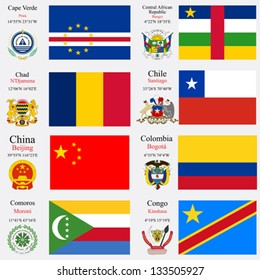 world flags of Cape Verde, Central African Republic, Chad, Chile, China, Colombia, Comoros and Congo, with capitals, geographic coordinates and coat of arms, vector art illustration