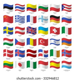 World flags collection. Flags, countries and capitals.  Vector illustration.