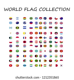 world flags collection shape of round