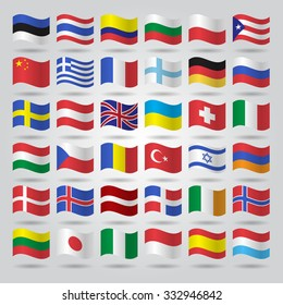 World flags collection. Vector illustration.