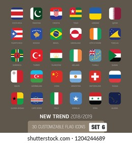 World flags iconset, icons national flags, new trend apple style, app style icons, customizable, flat icons