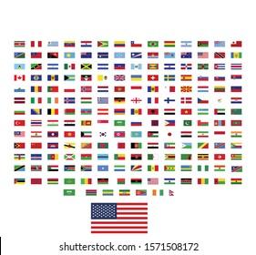 world flags illustration vector.  rectangle design. square design.