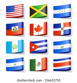 World flags. North America. Vector.