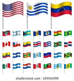WORLD Flags on pole AMERICA  Part 1/6 Vector