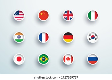 World Flags Round 3d Button Circle Icons Vector Set