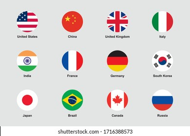 World Flags Round Flat Circle Icons Vector Set