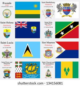 world flags of Rwanda, St Barthelemy, St Helena, St Kitts and Nevis, St Lucia, St Martin, St Pierre Miquelon and St Vincent and the Grenadines, with capitals, gps and coat of arms, art illustration